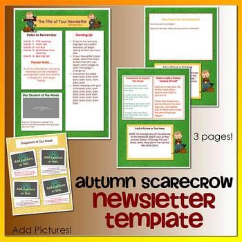 AUTUMN SCARECROWS theme - Newsletter Template WORD
