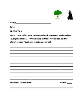 AUTUMN: SCIENCE WRITING/ RESEARCH PROMPTS:BOTANY/ A BUNDLE OF 12, GRADES 4-7