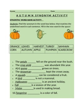 AUTUMN -SYNONYM WORD BANK ACTIVITY GRADES 3-6 W/ANSWER KEY