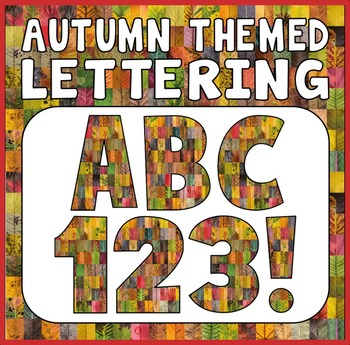 AUTUMN THEMED LETTERS, NUMBERS AND PUNCTUATION - DISPLAY LETTERING SEASON