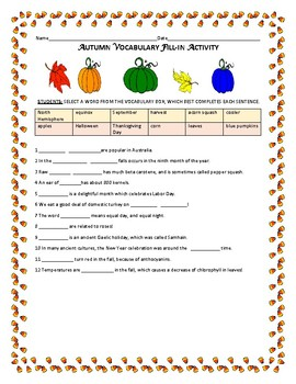AUTUMN VOCABULARY FILL-IN ACTIVITY W/ SCIENCE SNIPPETS,  GR. 3-7