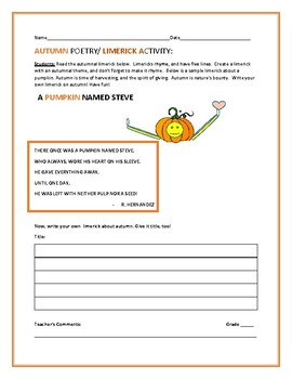 AUTUMN: WRITE A LIMERICK ACTIVITY!