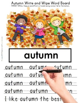 AUTUMN Write Wipe FINE MOTOR Vocabulary(SPECIAL EDUCATION AND AUTISM RESOURCE)