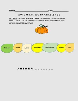 AUTUMNAL WORD CHALLENGE: AUTUMNOGRAM