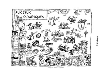 AUX JEUX OLYMPIQUES - Olympic poster, activities and sports flash cards .