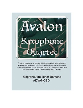 AVALON for Advanced Saxophone Quartet