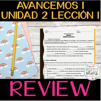 AVANCEMOS 1 UNIDAD 2 LECCIÓN 1 - REVIEW