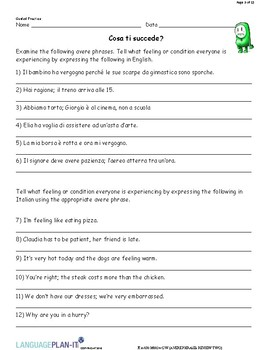 AVERE PHRASES REVIEW TWO (ITALIAN)
