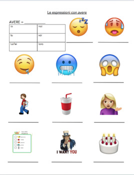 avere phrases with emojis italian guided notes and notes powerpoint