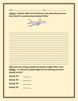 AVIATION: AIRPLANE CONSTRUCTION:A SCIENCE CENTER ACTIVITY