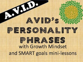 AVID 4 day Personality Phrase lessons with GROWTH MINDSET