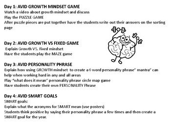 AVID 4 day Personality Phrase lessons with GROWTH MINDSET (Test Prep motivation)