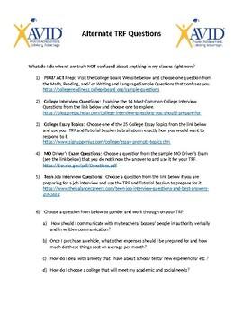 AVID Alternate TRF Questions