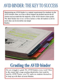AVID Binder Grading Sheet-Easy to grade rubric/criteria chart