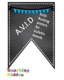 AVID Bulletin Board Header Decoration Chalkboard blue teal pennant