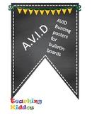 AVID Bulletin Board Header Decoration Chalkboard yellow green gold pennant