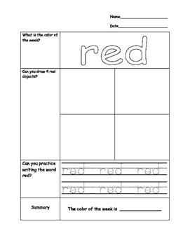AVID Cornell Notes Kindergarten Color Words Worksheets