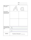 AVID Cornell Notes Kindergarten Alphabet Letters Worksheets