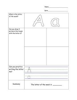 AVID Cornell Notes Kindergarten Alphabet Letters Worksheets