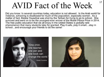 AVID Facts of the Week (REVISED AND EXPANDED FOR 2017-2018)