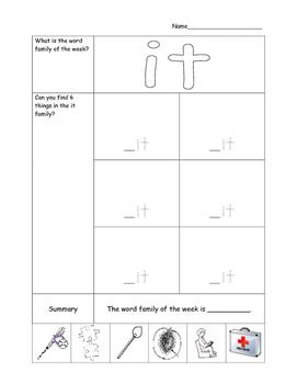 AVID Kindergarten Cornell Notes Word Families