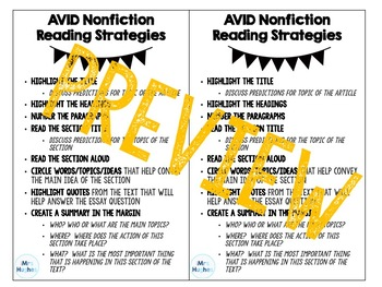 AVID Nonfiction Strategies Bookmark