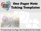 One Pager Note Taking Templates