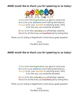 AVID Thank you Note for Guest Speakers