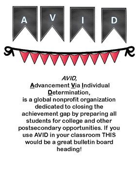 AVID  decoration - red banner - BACK TO SCHOOL