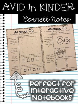 AVID in Kinder Cornell Notes for Interactive Notebook - Alphabet