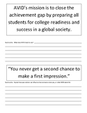 AVID's mission statement - quick write