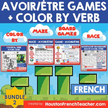 AVOIR/ETRE French Verb Game-grammar/conjugation game + COLOR BY - BUNDLE 2 (20%)