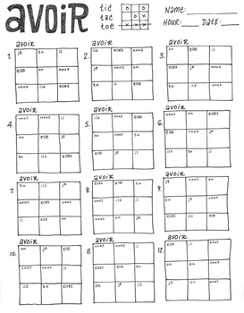 AVOIR ~French verb conjugation game ~tic tac toe ~French verb practice NO PREP