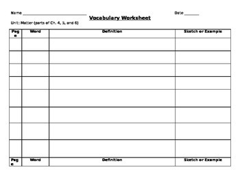 AVocabulary Worksheet for matter Unit