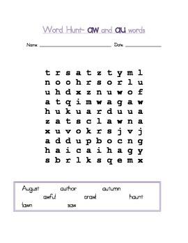 AW/ AU Word Work Phonics Packet