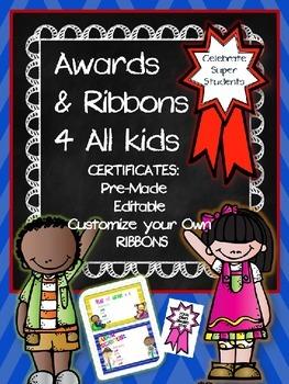 AWARD CERTIFICATES & RIBBONS 4 ALL KIDS {editable}