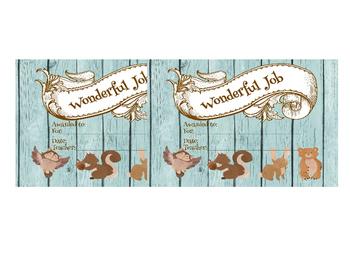 "AWARD certificate editable - 3 pgs, 3 sizes,  woodland animals - ""wonderful job"""