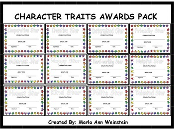 AWARDS PACK (CHARACTER TRAITS)