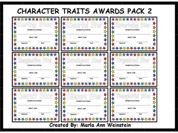 AWARDS PACK (CHARACTER TRAITS 2)