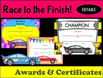 AWARDS and CERTIFICATES: Racing Cars - Race to the Finish!