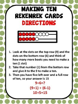 AWESOME ADDITION STRATEGY REKENREK CARDS