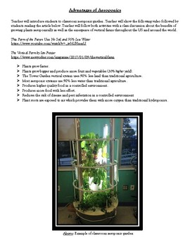 AWESOME AEROPONICS LESSON AND DATA COLLECTION FORMS