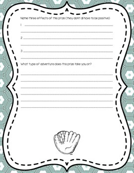 Baseball Cause and Effect Writing Prompt - MILESTONE FREEBIE!