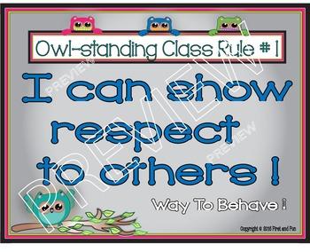 Back to School Owl BEHAVIOR POSTER AND WORK SHEET SET