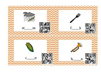 AY, AI, OR, ORE, AR Spelling Cards with QR codes