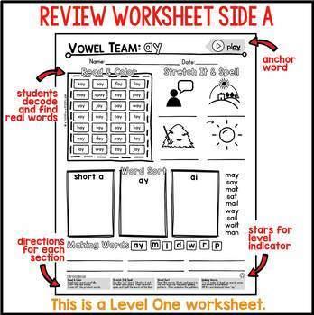 AY Vowel Team Review & Homework Worksheets for Word Work & Spelling