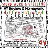 AY Vowel Team Review & Homework Worksheets for Word Work &