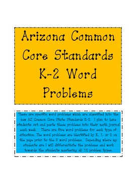 AZ Common Core Standards: Common Addition and Subtraction Situations