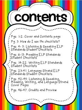 AZ English Language Proficiency {ELP} Standards Individual Student Checklists