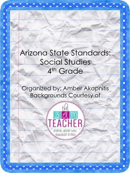 AZ State Standards: Social Studies 4th Grade